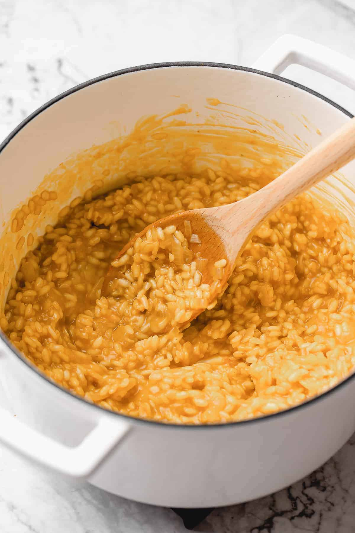 Creamy risotto in a pan.