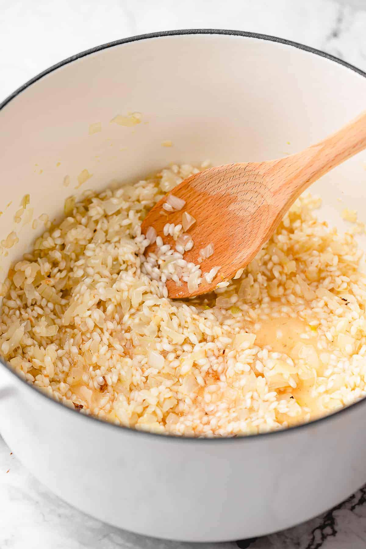 Rice grains with onion.