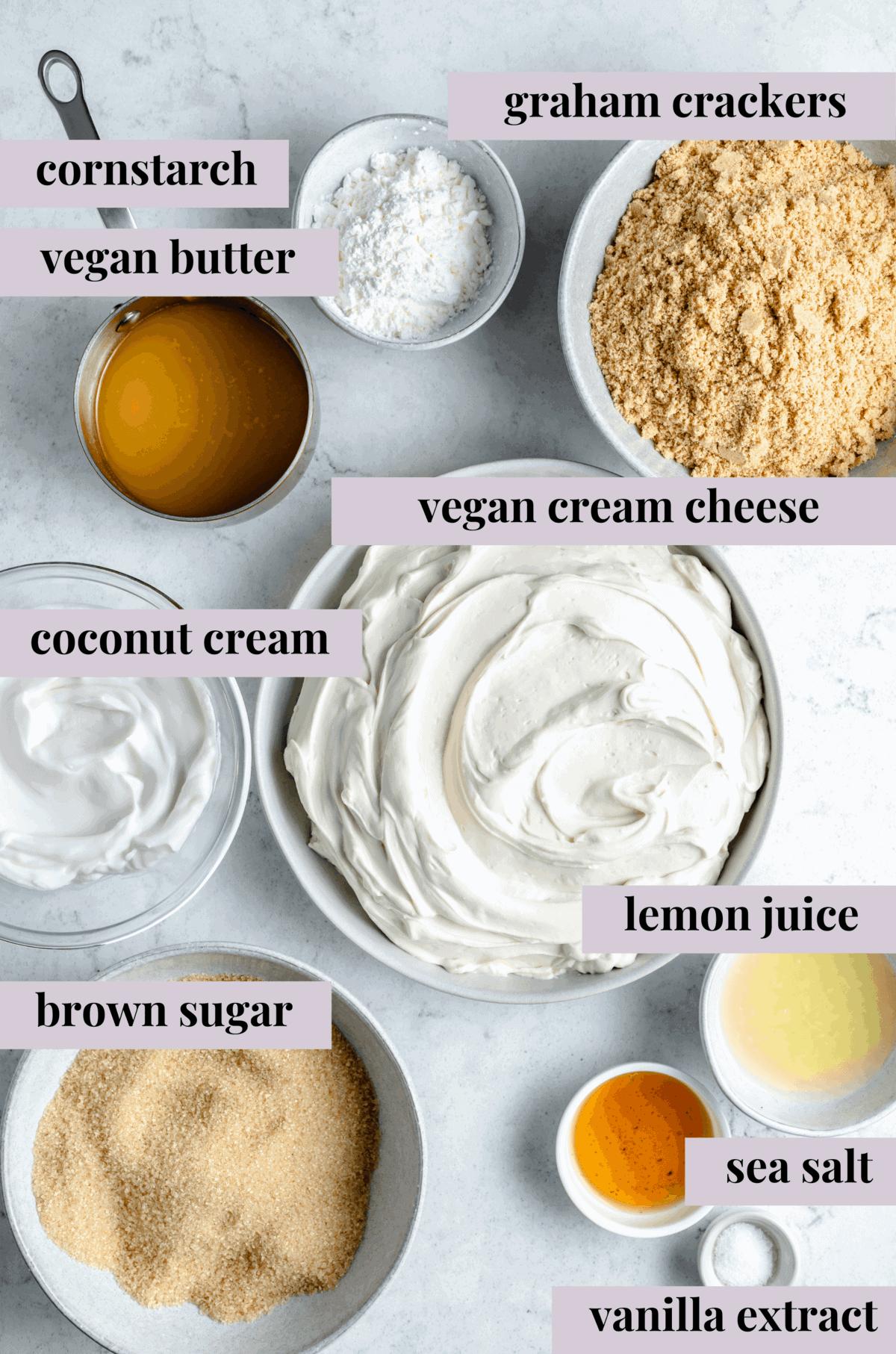 Ingredients for creamy vegan cheesecake.