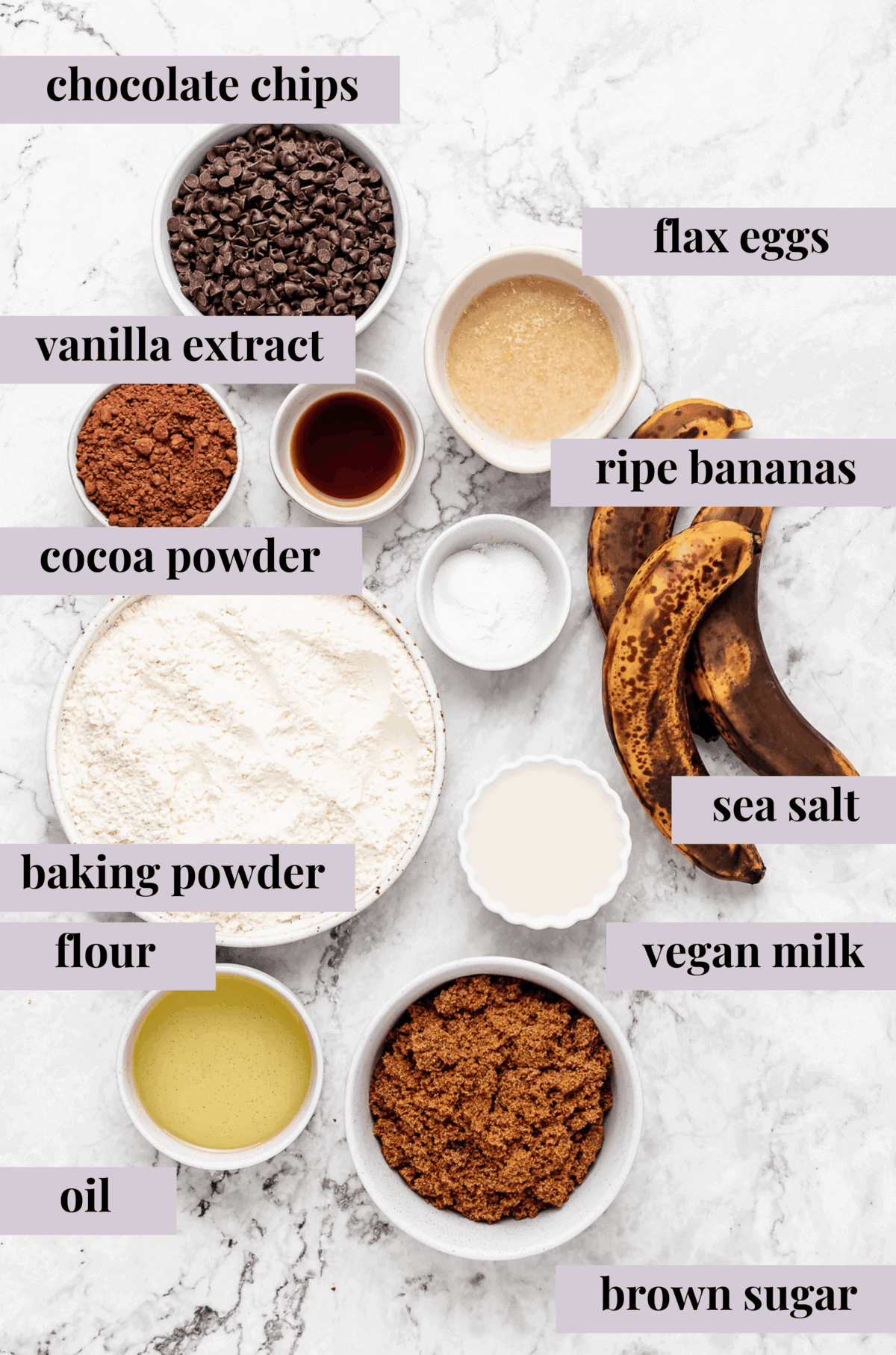 Ingredients for chocolate banana bread.