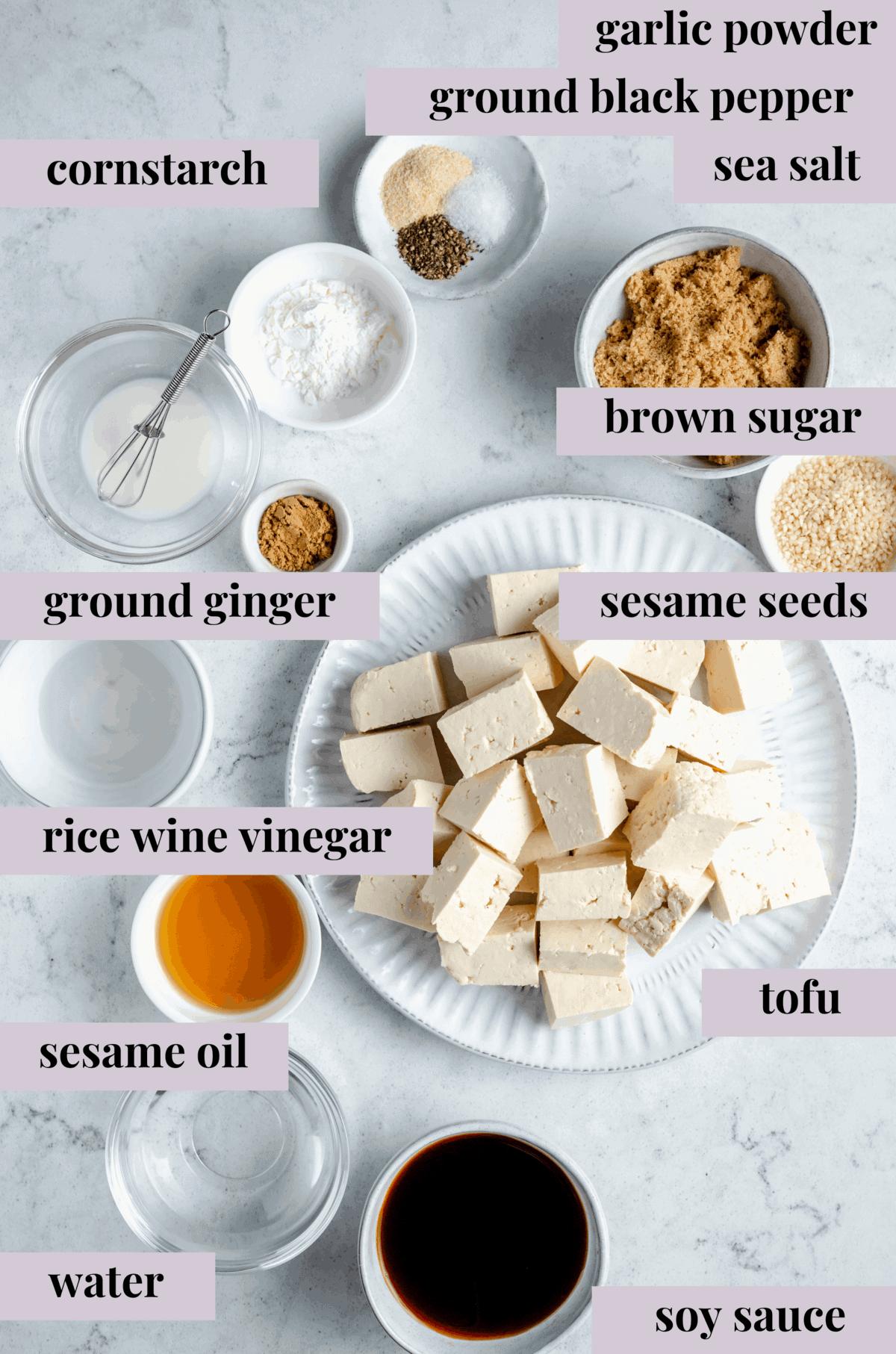 Ingredients for teriyaki tofu.