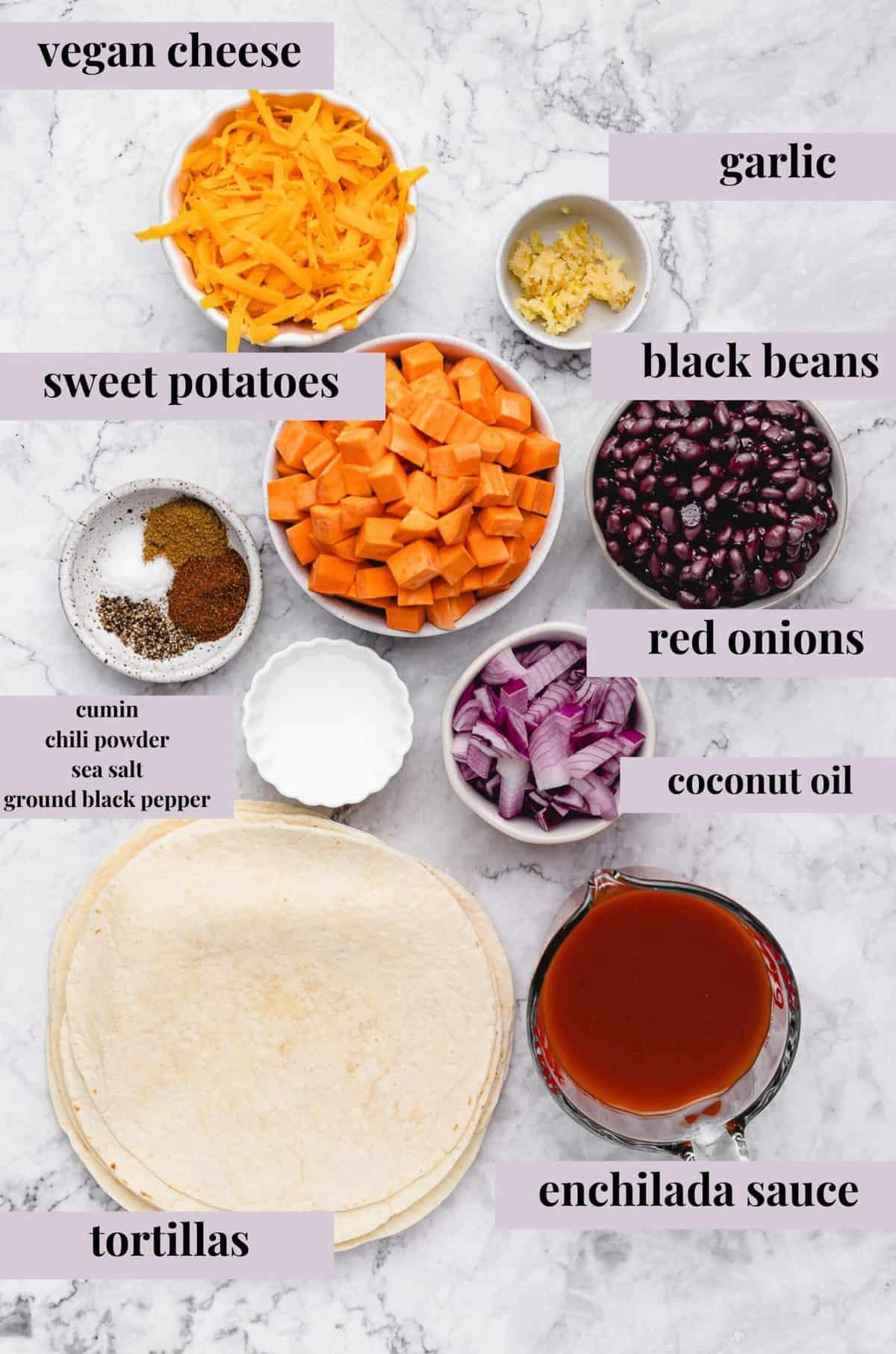 ingredients for making enchiladas