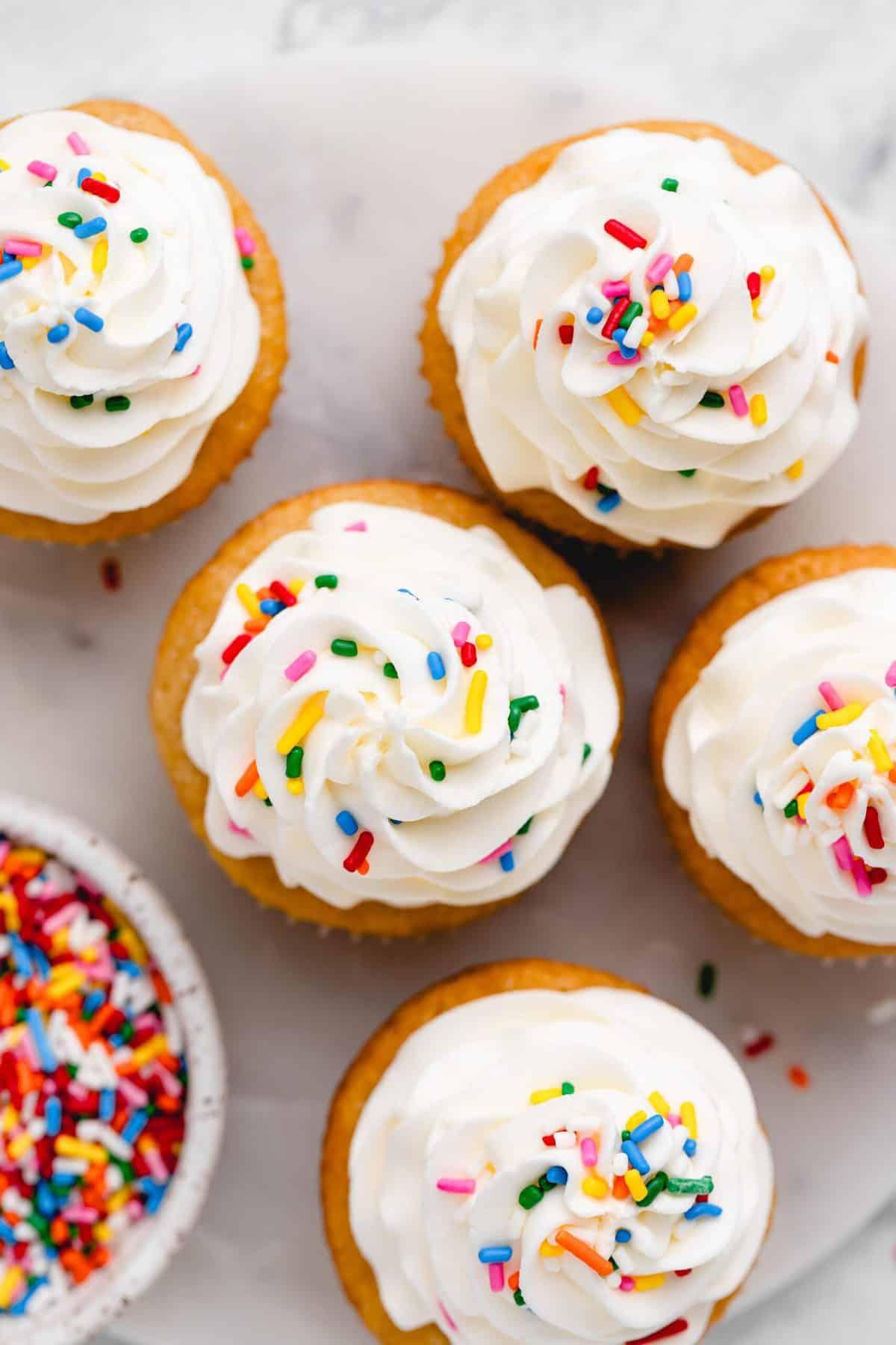 Vanilla cupcakes with vanilla buttercream frosting.