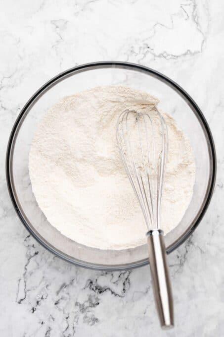 Dry ingredients for vanilla sheet cake.
