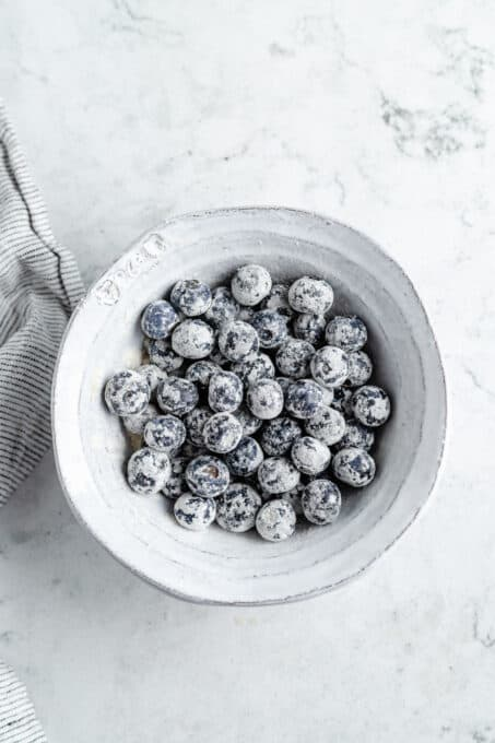 Blueberries mixed with flour.