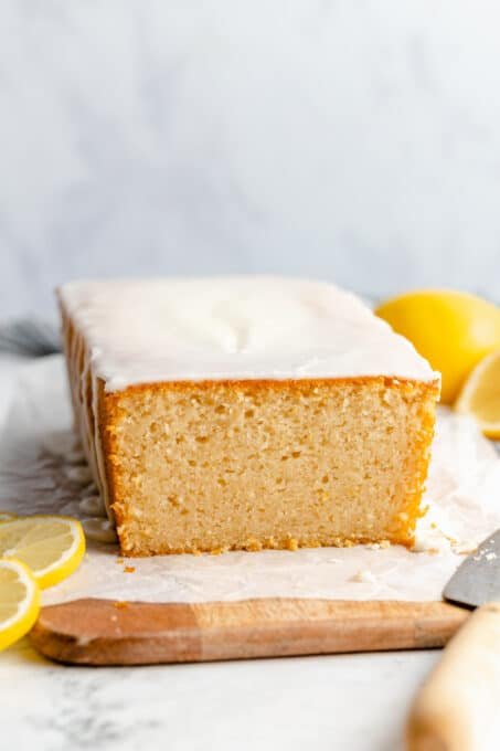 Lemon loaf cake with lemon-vanilla glaze.