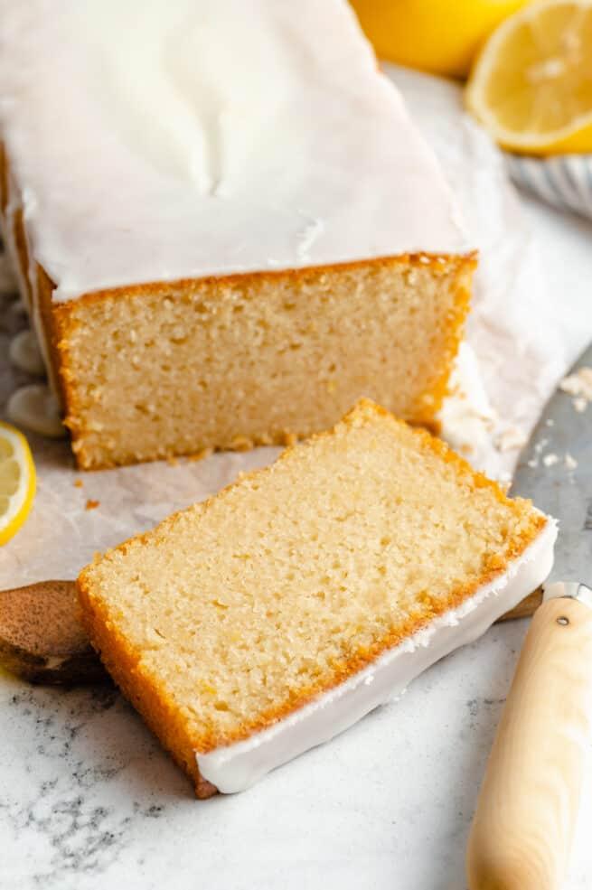 A slice of vegan lemon pound cake.