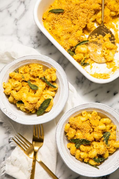 Two bowls of butternut squash macaroni and cheese.