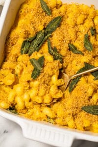 Baked mac and cheese with sage.