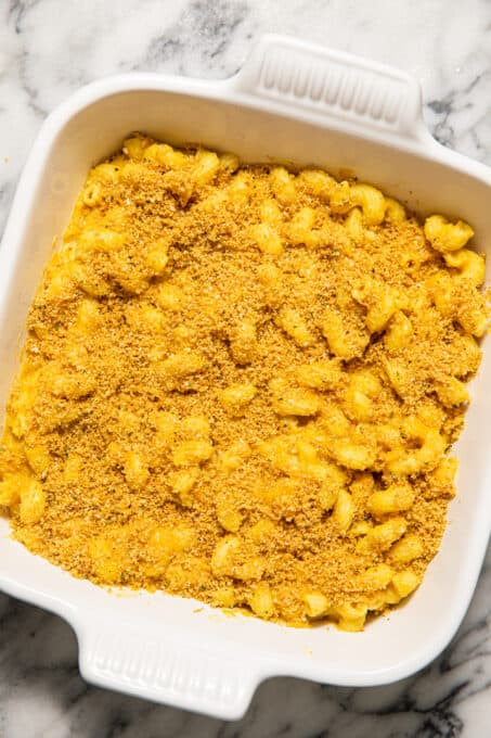 Butternut squash mac and cheese with breadcrumbs.