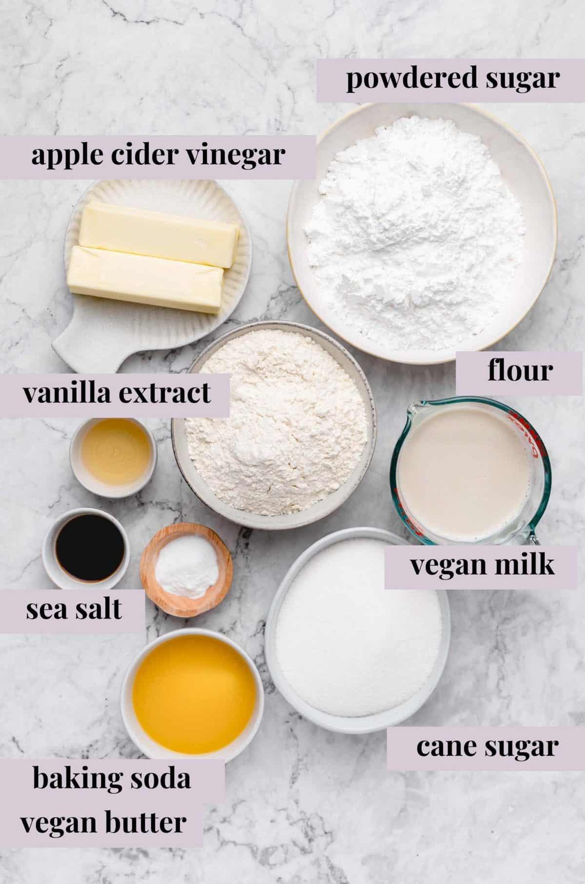 Ingredients for vegan vanilla sheet cake.