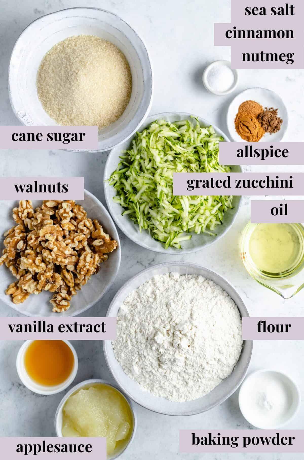 Ingredients for healthy vegan zucchini muffins.
