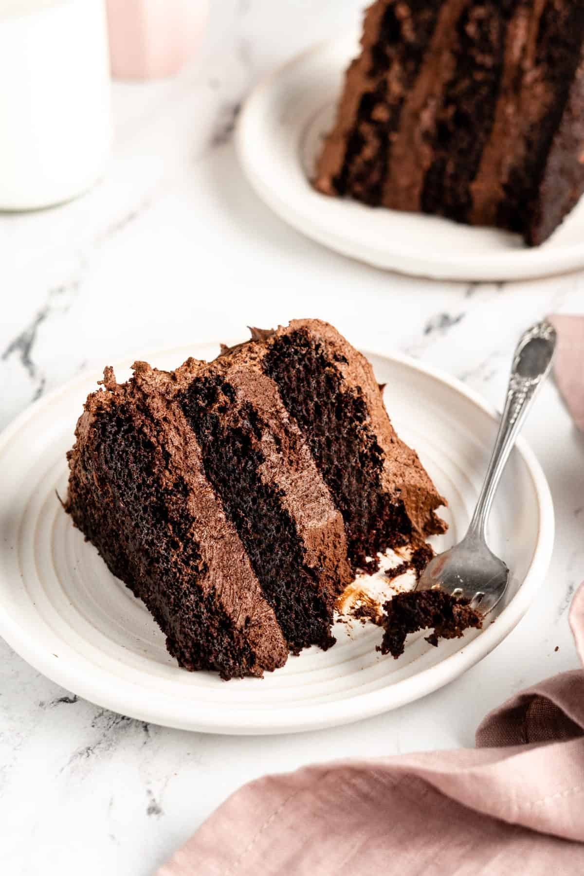 slice of chocolate cake on a plate with a fork