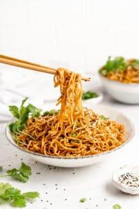 Bowl of vegan sesame noodles.