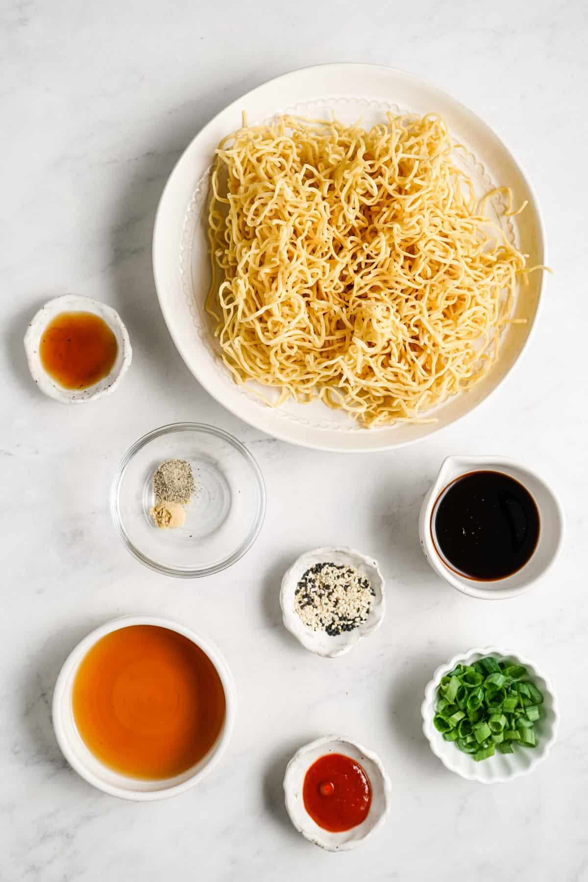 Ingredients for vegan sesame noodles.