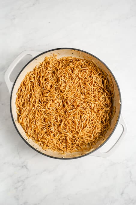 Noodles tossed in maple ginger sauce.