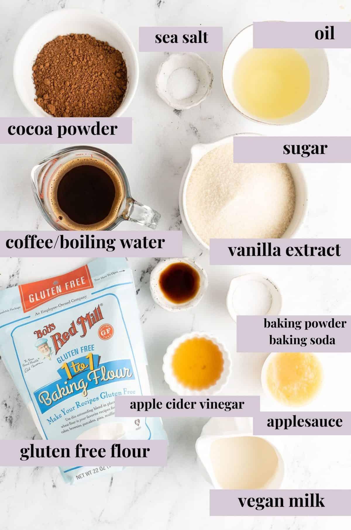 ingredients to make gluten free chocolate cake