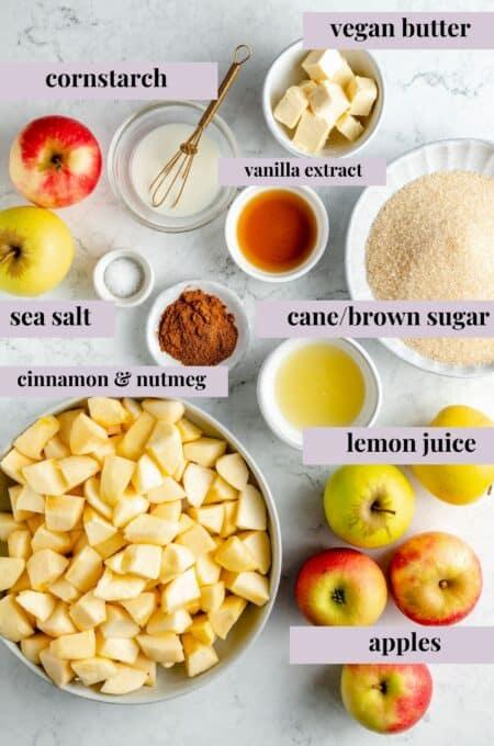 Ingredients for vegan apple pie.