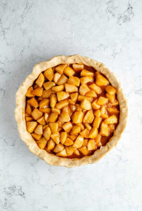 A pie crust filled with cinnamon apples.