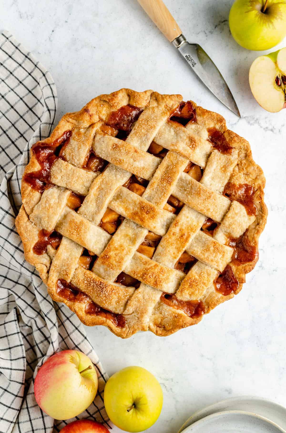 A baked apple pie with a lattice.