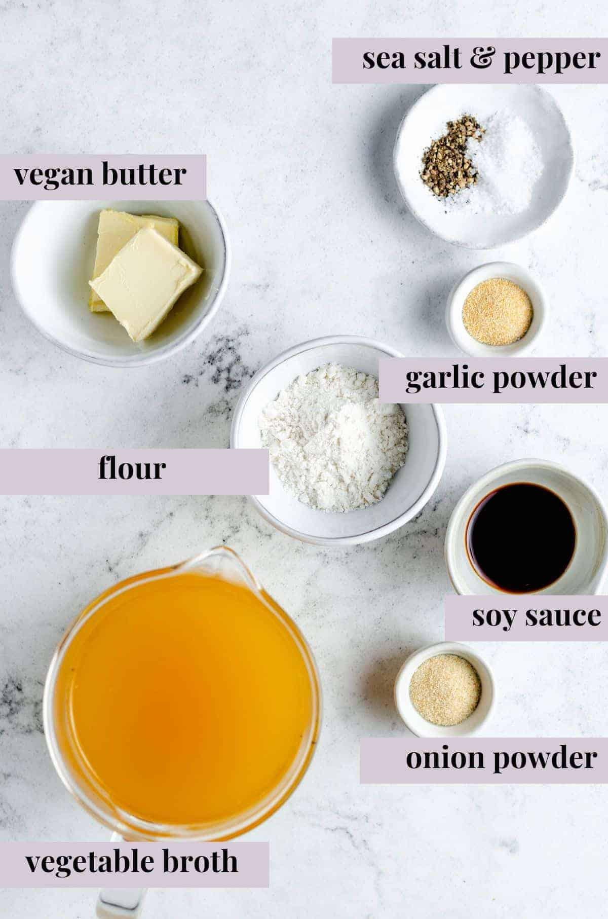 Overhead shot of vegan gravy ingredients with labels