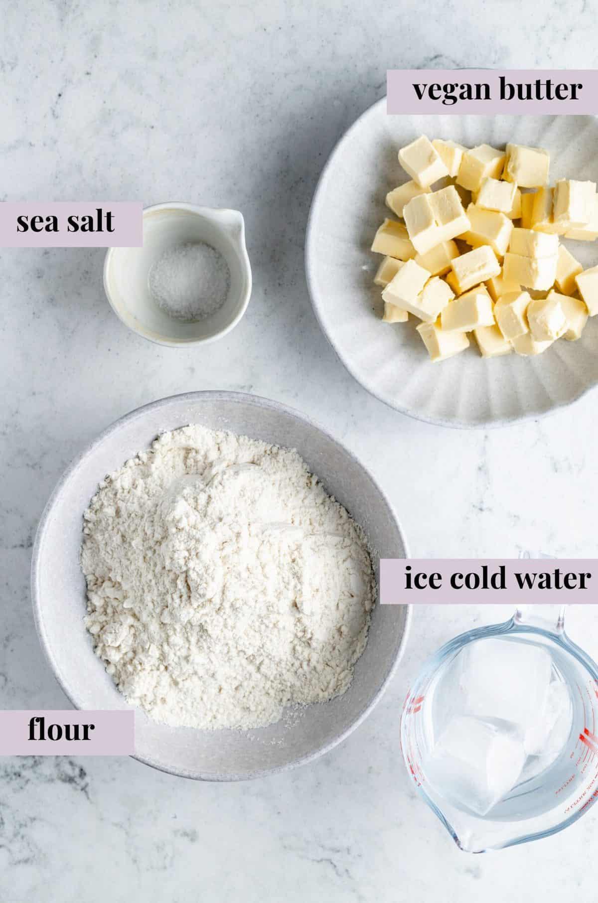 Ingredients for vegan pie crust.